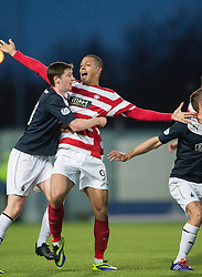 Falkirk's Conor McGrandles and Hamilton's Mickeal Antoine-Curier.<br /> Falkirk 0 v 0 Hamilton, Scottish Championship game at The Falkirk Stadium. © Michael Schofield 2014.
