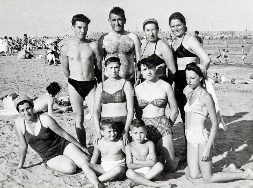 family and friends summer vacation snapshot France 1950s