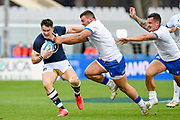Sam Johnson (Scotland) carries the ball hampered by Giosue Zilocchi (Italy) during the Autumn Nations Cup, rugby union Test match between Italy and Scotland on November 14, 2020 at the Artemio Franchi stadium in Florence, Italy - Photo Ettore Griffoni / LM / ProSportsImages / DPPI