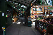 A quiet Borough Market on 6th April 2020 in London, United Kingdom. There have been almost 50,000 reported cases of the COVID-19 coronavirus in the United Kingdom and almost 5,000 deaths. The country is in its third week of lockdown measures aimed at slowing the spread of the virus.