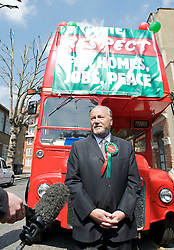 George Galloway MP<br /> Club Row, London E1, Great Britain <br /> Respect Party HQ at Manifesto launch event <br /> <br /> stock image from 27th April 2010 <br /> <br /> George Galloway is being investigated by police for saying Bradford an 'Israel-free zone'<br /> Respect MP said in a speech that Israeli goods, services, tourists and academics were not welcome as a result of Gaza offensive 7th August 2014. <br /> <br /> <br /> George Galloway MP<br /> George Galloway is a British politician, writer, and broadcaster, and the Respect Party Member of Parliament for Bradford West.<br /> <br /> Photograph by Elliott Franks