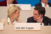 09 DEC 2014, KOELN/GERMANY:<br /> Ursula von der Leyen, MdB, CDu, Bundesverteidigungsministerin, und David McAllister, CDU, Landesvorsitzender CDU Nedersachen, ehem. Ministerpaesident Niedersachen, im Gespraech, CDU Bundesparteitag, Messe Koeln<br /> IMAGE: 20141209-01-149<br /> KEYWORDS: Party Congress, Gespräch