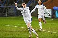GOAL 1-0! Tranmere Rovers midfielder Paul Lewis celebrates his goal during the EFL Sky Bet League 2 match between Tranmere Rovers and Forest Green Rovers at Prenton Park, Birkenhead, England on 19 January 2021.