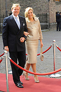 State visit of the Swedish king Carl XVI Gustaf and queen Silvia van Zweden to the Netherlands.<br /> <br /> On the Photo Prinses Máxima and Willem Alexander arrives for a Goverment Lunch at theTrêveszaal.