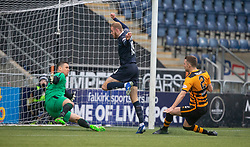 Falkirk's Zak Rubben scoring their goal. Falkirk 1 v 2 Alloa Athletic, Scottish Championship game played 6/4/2019 at The Falkirk Stadium.
