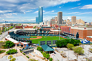 The Chickasaw Bricktown Ballpark with the Oklahoma City downtown skyline in the background on Sunday, April 12, 2020. The ballpark is home to the Oklahoma City Dodgers baseball team. Photo copyright © 2020 Alonzo J. Adams.