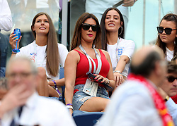 Rebekah Vardy, wife of England's Jamie Vardy during the FIFA World Cup third place play-off match at Saint Petersburg Stadium.