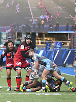 Rugby Union - 2018 / 2019 European Rugby Champions Cup - Pool Three: Cardiff Blues vs. Lyon<br /> <br /> Lewis Jones, of Cardiff Blues: passes the ball out, in front of the big screen at Cardiff Arms Park.<br /> <br /> COLORSPORT/WINSTON BYNORTH