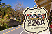 Sign marking the switchback mountain rural route 226A through the Blue Ridge mountains in the hamlet of Little Switzerland, North Carolina.