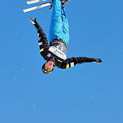 Scotty Bahrke performs aerial acrobatics during the 2009 Sprint US Freestyle Championships held at the Utah Olympic Park in Park City on March 8, 2009.