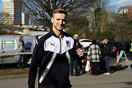 AFC Wimbledon goalkeeper George Long (1) arriving during the EFL Sky Bet League 1 match between AFC Wimbledon and Bristol Rovers at the Cherry Red Records Stadium, Kingston, England on 17 February 2018. Picture by Matthew Redman.