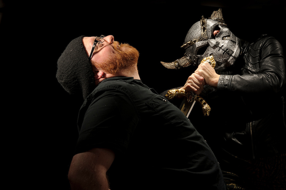 Photo by Matt Roth.Friday, February 3, 2012..Elizabeth Cline and Nick Di Fabbio.Swords and Mask