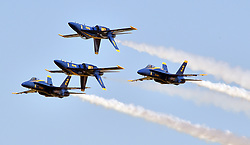 BARKSDALE AFB, La. (May. 6, 2017) The U.S. Navy Flight Demonstration Squadron, the Blue Angels Diamond performs the Double Farvel during the Defenders of Liberty Air Show. The Blue Angels are scheduled to perform more than 60 demonstrations across the U.S. in 2017. (U.S. Navy photo by Mass Communication Specialist 2nd Class Ian Cotter/Released)170506-N-IR734-249 <br /> Join the conversation:<br /> http://www.navy.mil/viewGallery.asp<br /> http://www.facebook.com/USNavy<br /> http://www.twitter.com/USNavy<br /> http://navylive.dodlive.mil<br /> http://pinterest.com<br /> https://plus.google.com