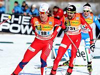 Kombinert<br /> World Cup<br /> Val di Fiemme Italia<br /> 03.02.2012<br /> Foto: Gepa/Digitalsport<br /> NORWAY ONLY<br /> <br /> FIS Weltcup, 10km Penalty Race. Bild zeigt Mikko Kokslien (NOR) und Magnus H. Moan (NOR).