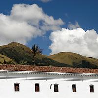 South America, Ecuador, Quito. Perspective of the San Francisco church in Quito's historical center.