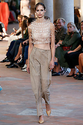 Model Birgit Kos walks on the runway during the Alberta Ferretti Fashion Show during Milan Fashion Week Spring Summer 2018 held in Milan, Italy on September 20, 2017. (Photo by Jonas Gustavsson/Sipa USA)