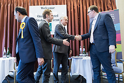 © Licensed to London News Pictures . 16/02/2017. Stoke-on-Trent, UK. The candidates shake hands at the end of a hustings in Stoke-on-Trent Central by-election at the Quality Hotel in Stoke , for local businesses with Lib Dem candidate Dr Zulfiqar Ali, Conservative candidate Jack Brereton,  Labour candidate Gareth Snell and, in place of UKIP candidate Paul Nuttall who didn't turn up , Patrick O'Flynn . Photo credit: Joel Goodman/LNP
