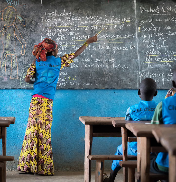 3 June 2019, Djohong, Cameroon: 14-year-old CAR refugee Mariamou takes her fellow students through an exercise. At the Ecole Publique de Borgop' (Public School of Borgop), children participate in 'the Listening Club', where today painter and consulting artist Dogari Samson leads a specific eight-day intervention to teach the children how to make drawings with images and messages of peace. The Borgop refugee camp is located in the municipality of Djohong, in the Mbere subdivision of the Adamaoua regional state in Cameroon. Supported by the Lutheran World Federation since 2015, the camp currently holds 12,300 refugees from the Central African Republic.