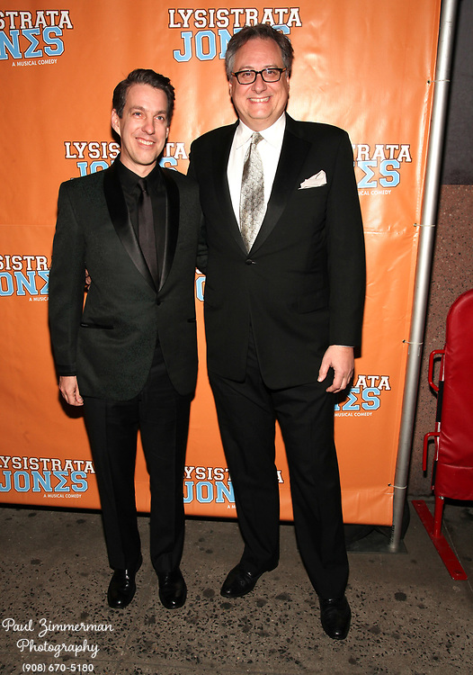"""NEW YORK, NY - DECEMBER 14:  (L-R) Lewis Flinn and Douglas Carter Beane attend the """"Lysistrata Jones"""" Broadway opening night arrivals and curtain call at the Walter Kerr Theatre on December 14, 2011 in New York City.  (Photo by Paul Zimmerman/WireImage)"""