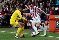 Shaun Harrad on the attack during the Sky Bet League 2 match between Cheltenham Town and Plymouth Argyle at Whaddon Road, Cheltenham, England on 28 March 2015. Photo by Alan Franklin.