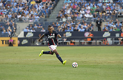 August 20, 2017 - New York, New York, United States - Juan Agudelo (17) of New England Revolution controls ball during regular MLS game against NYC FC on Yankee stadium NYC FC won 2 - 1  (Credit Image: © Lev Radin/Pacific Press via ZUMA Wire)