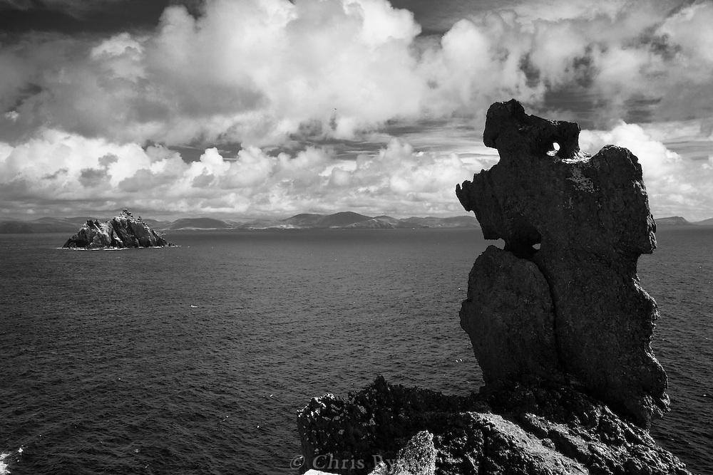 Wailing Woman Stone on Skellig Michael (Little Skellig, background), County Kerry, Ireland