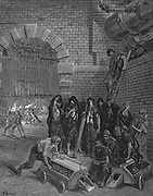 Lambeth Gasworks. From Gustave Dore and Blanchard Jerrold 'London: A Pilgrimage', London, 1872. Men taking a break from charging the retorts while colleagues in background take their turn in the inferno.  Wood engraving