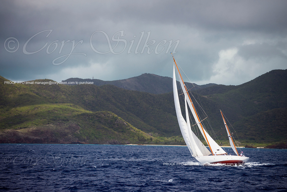 Mariella sailing in the Antigua Classic Yacht Regatta, Old Road Race.