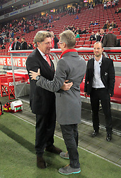 07.03.2014, Rhein- Energie Stadion, Koeln, GER, 2. FBL, 1. FC Koeln vs FC Energie Cottbus, 24. Runde, im Bild Trainer Peter Stoeger (1 FC Koeln) gratuliert Vize Praesident Tony Schumacher (1 FC Koeln) // during the 2nd German Bundesliga 24th round match between 1. FC Cologne and FC Energie Cottbus at the Rhein- Energie Stadion in Koeln, Germany on 2014/03/07. EXPA Pictures © 2014, PhotoCredit: EXPA/ Eibner-Pressefoto/ Schueler<br /> <br /> *****ATTENTION - OUT of GER*****