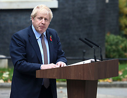 © Licensed to London News Pictures. 06/11/2019. London, UK. Boris Johnson's gives a statement outside number 10 Downing Street as the Conservative Party start their General Election campaign. Photo credit: Alex Lentati/LNP
