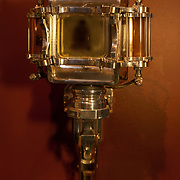 """""""Untouchable"""" 4""""x5"""" camera mounted on its exhibition wall mount. (Rear view.)"""