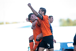Dundee United's Craig Curran (9) celebrates after scoring their second goal. Falkirk 0 v 2 Dundee United, Scottish Championship game played 22/9/2018 at The Falkirk Stadium.