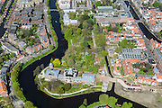 Nederland, Zuid-Holland, Leiden, 09-04-2014; Sterrenwacht en de Hortus Botanicus, Wittte Singel en Rapenburg.<br /> Observatory and the botanical garden in the old town of the city of Leiden.<br /> luchtfoto (toeslag op standard tarieven);<br /> aerial photo (additional fee required);<br /> copyright foto/photo Siebe Swart.