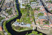 Nederland, Zuid-Holland, Leiden, 09-04-2014; Sterrenwacht en de Hortus Botanicus, Wittte Singel en Rapenburg.<br /> Observatory and the botanical garden in the old town of the city of Leiden.<br /> luchtfoto (toeslag op standard tarieven);<br /> aerial photo (additional fee required);<br /> copyright foto/photo Siebe Swart.