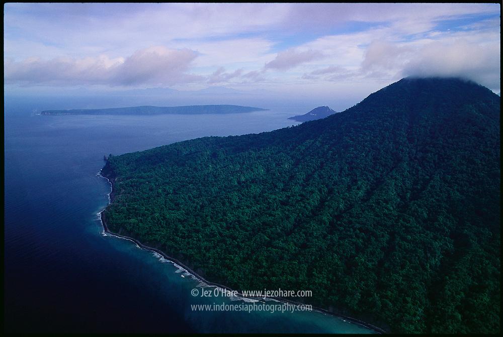 Mount Rakata and Mount Anak Krakatau in the background, Krakatau Nature Reserve, Sunda Straits, Lampung, Sumatra, also near Banten, Java, Indonesia.