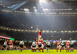 Wales Adam Beard claims the lineout<br /> <br /> Photographer Simon King/Replay Images<br /> <br /> Friendly - Wales v Barbarians - Saturday 30th November 2019 - Principality Stadium - Cardiff<br /> <br /> World Copyright © Replay Images . All rights reserved. info@replayimages.co.uk - http://replayimages.co.uk