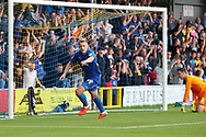 AFC Wimbledon striker Joe Pigott (39) celebrating after scoring goal to make it 1-0  during the EFL Sky Bet League 1 match between AFC Wimbledon and Sunderland at the Cherry Red Records Stadium, Kingston, England on 25 August 2018.