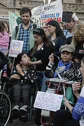 October 3, 2018 - Buenos Aires, Federal Capital, Argentina - At the Congress of the Argentine Nation in Buenos Aires a concentration was held that called for Organizations, Associations and Families of people with disabilities who expressed their repudiation against adjustments and cuts to pensions and allowances for people with disabilities. (Credit Image: ©  Roberto Almeida Aveledo/ZUMA Wire)
