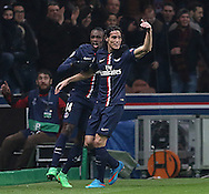 Paris Saint-Germain Edinson Cavani celebrates his goal during the Champions League match between Paris Saint-Germain and Chelsea at Parc des Princes, Paris, France on 17 February 2015. Photo by Phil Duncan.