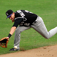 21 July 2007:  Colorado Rockies shortstop Troy Tulowitzki (2) cannot reach a double by Washington Nationals third baseman Ryan Zimmerman (11) in the 6th innning.  The Nationals defeated the Rockies 3-0 at RFK Stadium in Washington, D.C.  ****For Editorial Use Only****