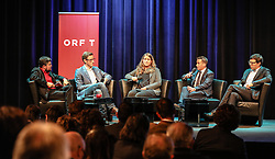 19.10.2016, ORF Landesstudio Tirol, Innsbruck, AUT, theALPS Media Summit, Präsentation einer Studie zur Zukunft des Winterurlaubs in den Alpen, im Bild v.l. Patrick Rina, ORF Südtirol, Valentin Binnendijk, Trekksoft, Miriam Schuler, Andermatt-Urserntal Tourismus, Andrea Andy Varallo, Dolomiti Superski, Anton Seeber, Leitner ropeways // during theALPS Media Summit at the ORF Landesstudio Tirol in Innsbruck, Austria on 2016/10/19. EXPA Pictures © 2016, PhotoCredit: EXPA / Martin Huber