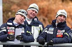 Ari Pekka Nikkola, Ales Peljhan and Franci Petek at Slovenian National Championship in Ski Jumping on February 12, 2008 in Kranj, Slovenia . (Photo by Vid Ponikvar / Sportal Images).