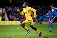 AFC Wimbledon forward Dominic Poleon (10)  chases a through ball during the EFL Sky Bet League 1 match between Scunthorpe United and AFC Wimbledon at Glanford Park, Scunthorpe, England on 28 February 2017. Photo by Simon Davies.