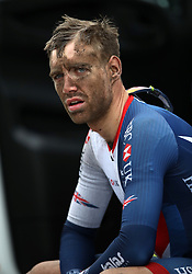 Great Britain's Christopher Lawless after pulling out of the Men's Road Race on day eleven of the 2018 European Championships in Glasgow.