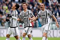 Esultanza Gol Anderson Hernanes Juventus con Daniele Rugani e Leonardo Bonucci Goal celebration <br /> Torino 01-05-2016 Juventus Stadium Football Calcio Serie A 2015/2016 Juventus - Carpi. Foto Filippo Alfero / Insidefoto
