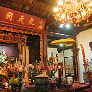Altar at the Temple of the Jade Mountain (Ngoc Son Temple) on Hoan Kiem Lake in the heart of Hanoi's Old Quarter. The temple was established on the small Jade Island near the northern shore of the lake in the 18th century and is in honor of the 13-century military leader Tran Hung Dao.