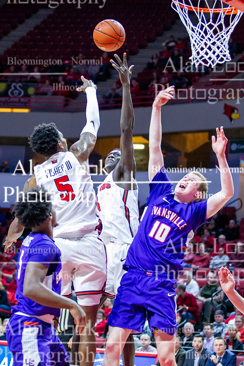 NORMAL, IL - January 29: Keith Fisher III, Abdou Ndiaye and Evan Kuhlman struggle to rebound a ball during a college basketball game between the ISU Redbirds and the University of Evansville Purple Aces on January 29 2020 at Redbird Arena in Normal, IL. (Photo by Alan Look)