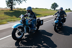 Chris Salisbury (L) riding with Kyle Rose on the Cross Country Chase motorcycle endurance run from Sault Sainte Marie, MI to Key West, FL. (for vintage bikes from 1930-1948). Stage-10 covered 110 miles from Miami to the finish in Key West, FL USA. Sunday, September 15, 2019. Photography ©2019 Michael Lichter.