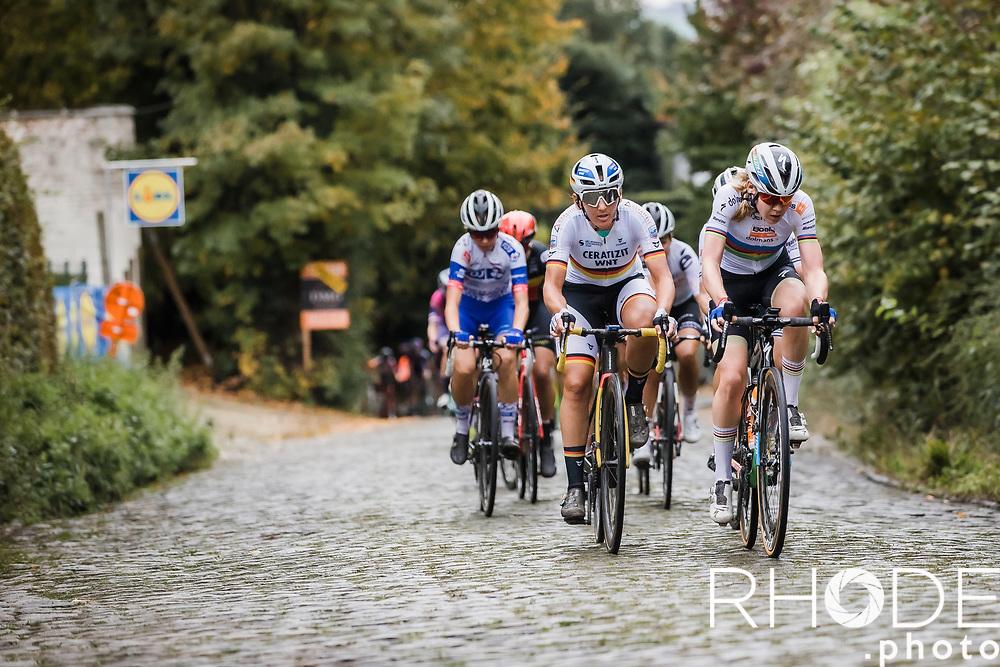 World Champion Anna van der Breggen (NED/Boels-Dolmans) and German National Champion Lisa Brennauer (GER/Ceratizit-WNT Pro Cycling), up the Kruisberg<br /> <br /> 17th Ronde van Vlaanderen 2020<br /> Elite Womens Race (1.WWT)<br /> <br /> One Day Race from Oudenaarde to Oudenaarde 136km<br /> <br /> ©kramon