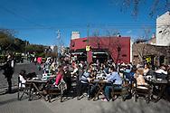 Outdoor restaurant in a sunny Sunday in Palermo Soho